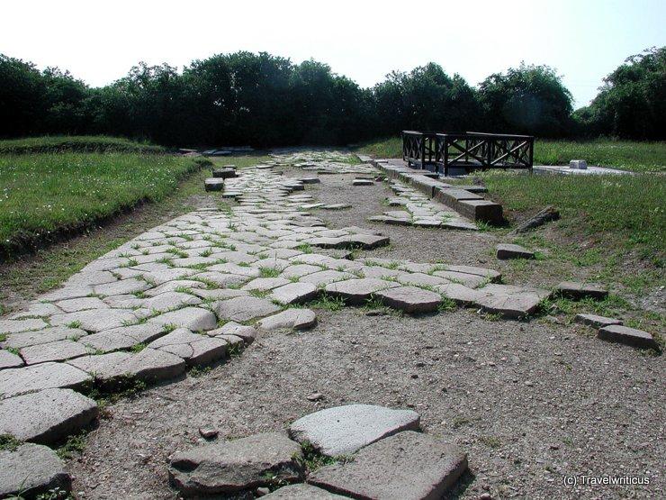 Blick auf die archäologische Ausgrabung