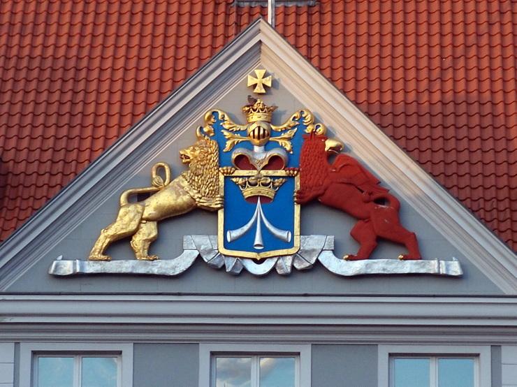 Schwedisch-Pommersches Wappen am Kommandantenhaus in Stralsund